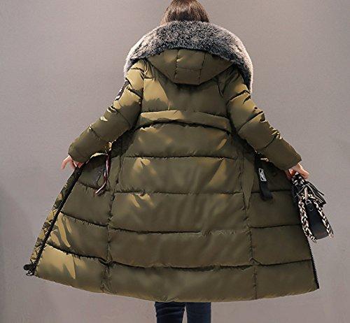 Smile YKK Parka à Capuche Femme Faux Fourrure Manteau Chaud Veste Manche Longue Grande Taille Vert