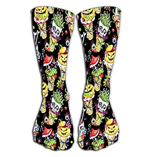 rts Men Women High Socks Stocking Watercolor Cartoon Cones Skulls Pumpkins Eyes amanitas Halloween Holiday Funny Ice Cream Watermark Tile Length ()