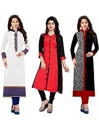 Pramukh Fashion Cotton Semistichead Pack Of 3 Kurtis Combo(1003white Red Skarp 1017)