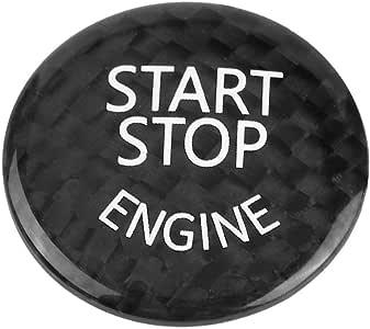 Schwarz Auto Motor Start Button Cover Keenso Carbon Motor Start Button Aufkleber Trim Innendekoration