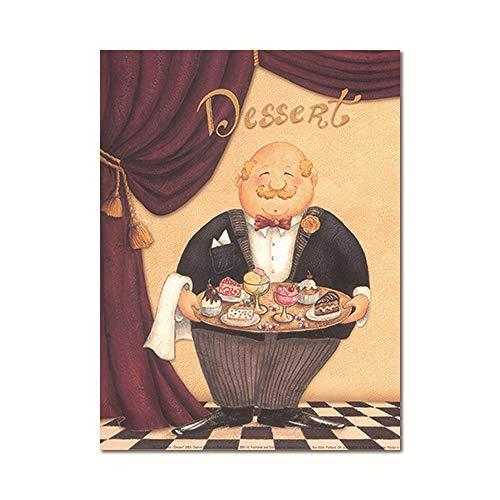 zgmtj Restaurant Kellner Leinwand Malerei Kaffeehaus Wandkunst Europäischen Retro Küche Poster Drucken Kreative Koch Esszimmer Bild - Museum Putty