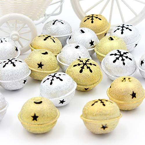 DAHI Glöckchen Weihnachtenbaum Anänger 30 Stück Schneeflocken Schellen Glocke in Gold und Silber für Weihnachtsdekoration