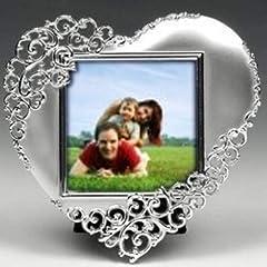 Idea Regalo - Cornice portafoto a forma di cuore argentata - matrimoni, anniversari, accessori per la casa, regalo romantico, elegante e di classe