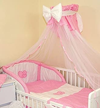 LUXURY BABY COT/COTBED CANOPY DRAPE / MOSQUITO NET -BIG 485cm with BOW + HOLDER (5 - Checkered pink) Amazon.co.uk Baby & LUXURY BABY COT/COTBED CANOPY DRAPE / MOSQUITO NET -BIG 485cm with ...