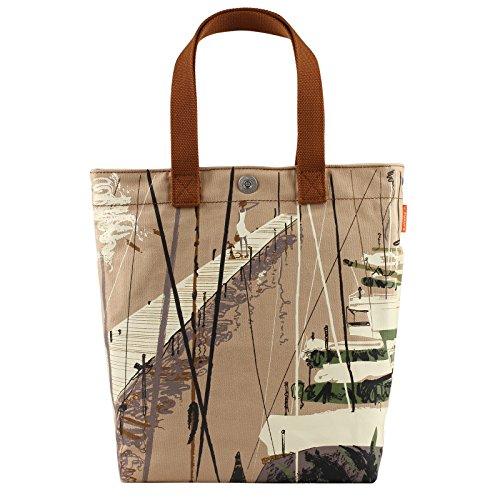 Canvas Tasche für Büro Schule Reise Strand | Damen Schultertasche mit Coolem Motiv Pier Yacht | große Handtasche für Alltag | Veganes Hobo Bag aus Bio Baumwolle (Segeltuch) | Robuste Umhängetasche