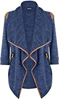 WearAll Women's Knitted Open Zip Pocket Long Sleeve Shoulder Top Cardigan - Royal Blue - 12-14