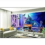Guyuell 3D Wallpaper Benutzerdefinierte Zimmer Wandbild Fotowand Papier Sea World Dolphin Violett Tv Hintergrund Wandmalerei Aufkleber Sofa Bettwäsche Raum-200Cmx140Cm