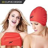 ZIONOR 3D Modisch Silikon Badekappe - Große Licht weiche bequeme Badekappen mit Ohren Abdeckung für mittlere bis lange Haare Damen Damen Herren Junior Schwimmen Hut