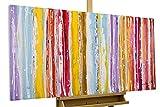 KunstLoft® Acryl Gemälde 'Line it ' 120x60cm | original handgemalte Leinwand Bilder XXL | Abstrakt Linien Bunt | Wandbild Acryl bild moderne Kunst einteilig mit Rahmen