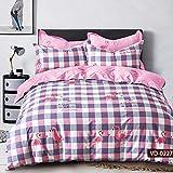 Febe Bettwäsche Flamingo Bettbezug 135x200 cm 100% Baumwolle Doppelseitig Exklusiv Rosa, Lila, Grau, Weiß mit Verschluss