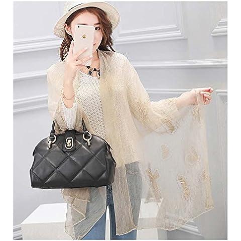 MEILING Toalla bordado de la mariposa de seda largo de la bufanda del mantón de doble - Uso color de la