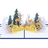 Vektenxi Lovely Greeting Card Creative 3D Pop Up Handmade Christmas Forest Deer Greeting Card Xmas Decor Gift Fashion Christmas Accessories Durable and Useful