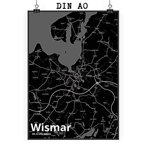 Mr. & Mrs. Panda Poster DIN A0 Stadt Wismar Stadt Black - Stadt Dorf Karte Landkarte Map Stadtplan Poster, Wandposter, Bild, Wanddeko, Wand, XXL, Riesig, DIN A0, XL Poster, Kinderzimmer, Einrichtung, Wohnzimmer, Deko, Geschenk DIN, A0, Fan, Fanartikel, Souvenir, Andenken, Fanclub, Stadt, Mitbringsel