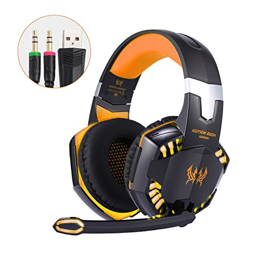 ikrofon, Noise Cancellation Surround Sound Über Over Ear Kopfhörer mit LED Licht, verdrahtete 3,5 MM Gaming-Kopfhörer für neue Xbox One, PS4, PC, Laptops, Mac, Ipad, iPhone 5, 6, 7, One Schlüssel Mic Stumm (Playstation Wireless Kopfhörer)