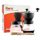 Manual Coffee Grinder with Adjustable Ceramic Burr-Hero Glass Jar Coffee Mill, Precision Brewing