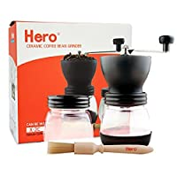 Manual Coffee Grinder with Adjustable Ceramic Burr-Hero Glass Jar Coffee Mill, Precision Brewing, Washable, Convenient for Using, with Cleaning Brush and Sealed Coffee Container for Household, Office