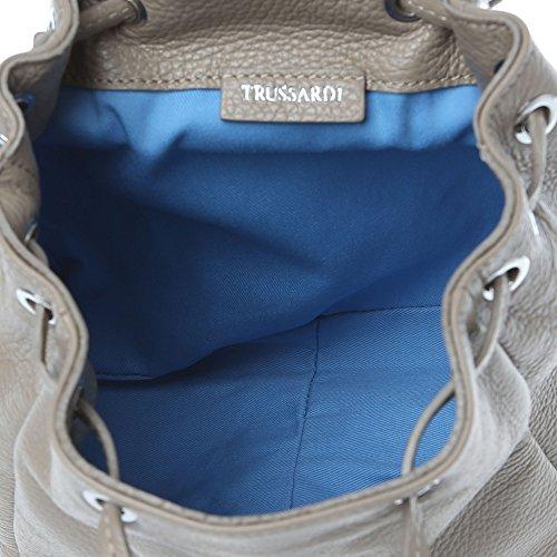 Sac dos pour femme Trussardi avec sangle et poignée réglable, Cuir de veau authentique Fabriqué en Italie 22x23x11 Cm Mod. 76B156AM Boue