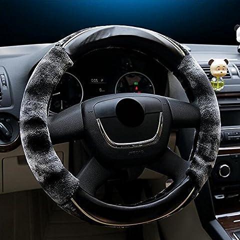 Inverno calda lana copertura del volante Cashmere auto per 38 cm (15 pollici) Diametro esterno da EarthSafe (Crescent punto nero)