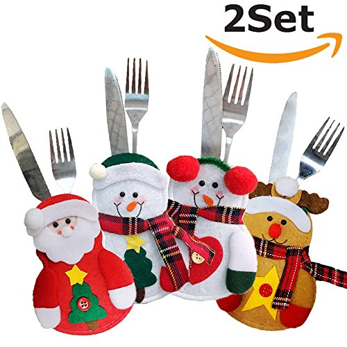 TEERFU 8 Pack Xmas Decor Snowman Kitchen Tableware Holder,Christmas Dinner Tableware Cutlery Case Bag Cover Knife Spoon Fork Bag Wine Bottle Cap Cover Decoration