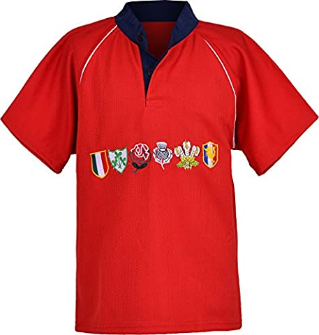 Children 6 nation rugby shirts size 3/4Y to 11/12 year (2XL 11/12Y, RED)