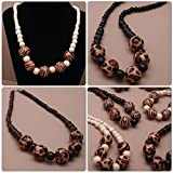 Wooden Bead Animal Leopard Print Tribal Necklace