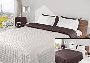 170x210 creme ecru ivory braun schoko Tagesdecke Bettüberwurf Steppbettüberwurf Steppung zweiseitig Eva