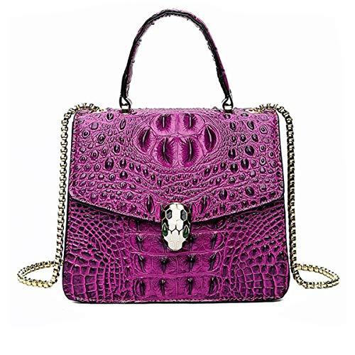3D Krokoprägung Handtasche Mode geprägte Frauen Messenger Bag kleine Goldkette Mummy Bag Snake Head Lock Schnalle Umhängetasche (lila, 20 * 11 * 17cm) - Geprägte Mode Handtasche