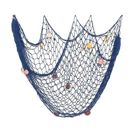 Chytaii Decorativa Red de Pesca Náutica Decorativa Adorno Colgante de Pared con Conchas Estilo Mediterráneo Pared de Fondo Cuerda de Cáñamo Azul 2x1,5m