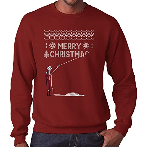 TeeTrumpet Nightmare Before Christmas Jack Stealing Christmas Knit Pattern Men's Sweatshirt