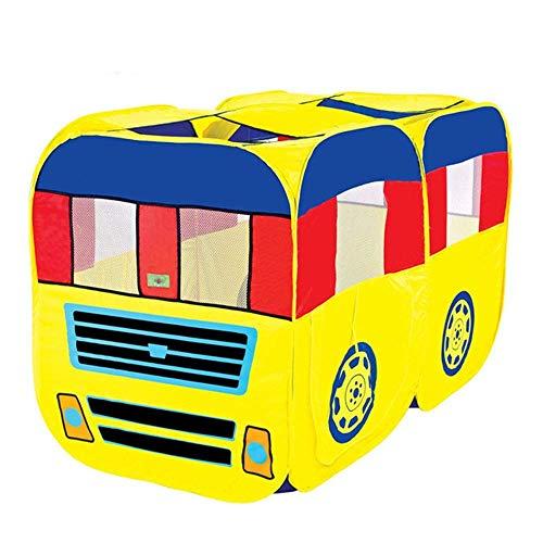 ADATEN Spielzelt Kinder Spielhaus Cartoon Doppelbus Lastwagen Spielhaus Tunnel Ball-Pool-Schloss Aufklappen Tragbar Zusammenklappen Wigwam Zelt 2-3 Personen Spielen,C -