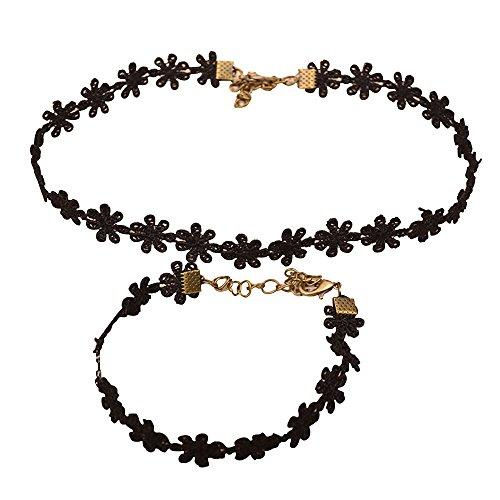 conteverr-1-jewellery-set-daisy-flower-lace-30cm-bracelet-15cm-necklace-black