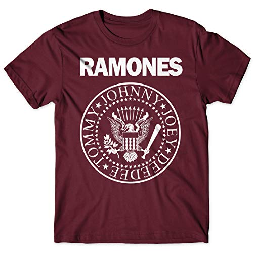 LaMAGLIERIA Camiseta Hombre - Ramones t-Shirt Punk Rock Band 100% algodón, M, Bordeaux