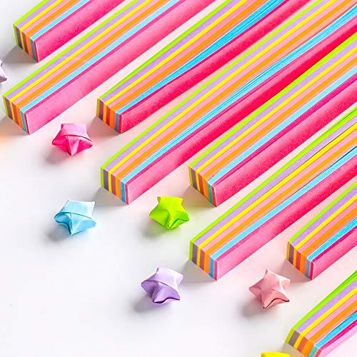 Fluoreszierendes Origami-Papier, 9 Farben, 140 Stück DIY helle Farbe, Glückstern-Papierstreifen, Origami, einfaches Muster, Quilling-Papier -