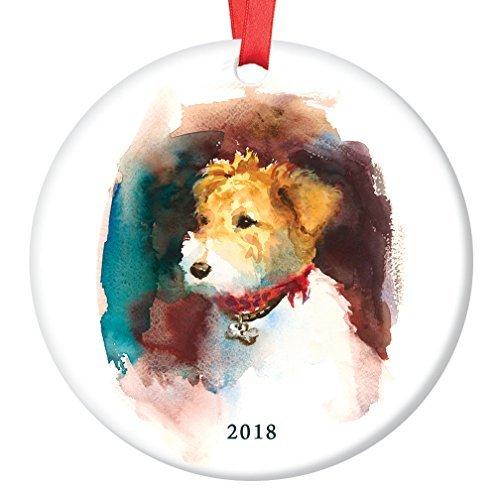 WSMBDXHJ Dekofigur Fuchs Terrier 2018, Porzellanhund, Familienhund, Aquarell-Porzellan, Weihnachtsdekoration