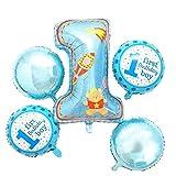 5pz/set palloncini compleanno Cartoon Strange a forma di foglio di alluminio palloncino hotel decorazione per feste di compleanno per bambini, blu