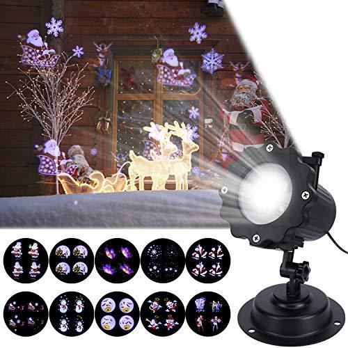(LED Projektor Weihnachten Licht, 12 Folien, ALED LIGHT Wasserdichte Weihnachtsbeleuchtung Aussen Projektor Lampe mit Fernbedienung, Projektion Nachtlicht für Party Urlaub Haus Weihnachten Dekoration)