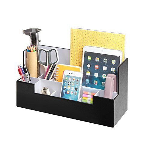 Schreibtisch Schreibwaren Organizer Zubehör Aufbewahrungsbox Case Caddy Tablett Cosmetic Display Halter Telefon Tablet Stand (Schwarz, 34 x 12,9 x 18 cm) -: MK268A ()