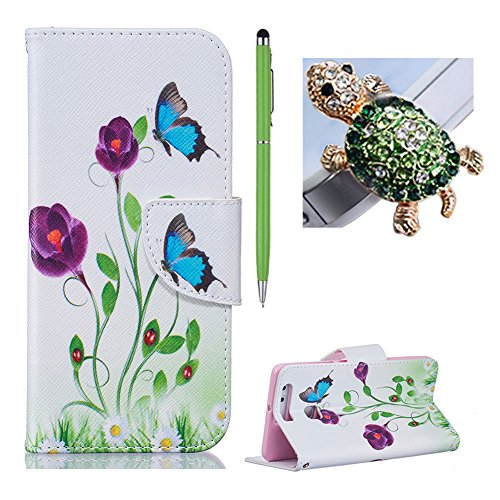 Huawei P9 Hülle Blumen ,SKYXD Blauer Schmetterling Muster PU Leder Folio Klappbar Schutzhülle [Magnetverschluss / Brieftasche Kartenfach / Standfunktion] Klapphülle mit [Schildkröte Handyanhänger + Eingabestift] 3 in 1 Zubehör Handy Tasche Etui für Huawei P9 Case Bookstyle Flip Leather Cover With [Free Stylus and Dust Plug]