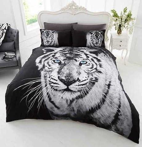 Parure de lit Tigre blanc 3D housse de couette 200cm x 200cm + 2 taies polycoton