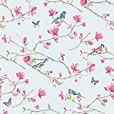 decor art papier peint motif oiseaux et papillon de la for t pour chambre rouleau de 10 m tres. Black Bedroom Furniture Sets. Home Design Ideas