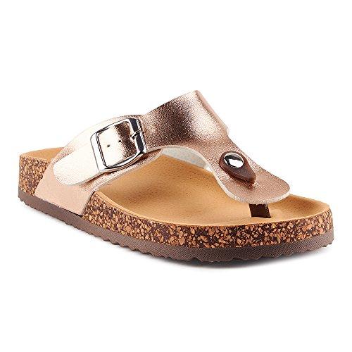 Fusskleidung Damen Riemchen Sandalen Zehentrenner Komfort Sandaletten Lack Schlappen Hausschuhe Pantoletten Schuhe Frankfurt-Rosegold EU 39 (Komfort-clogs)