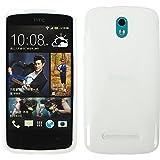 PhoneNatic Case für HTC Desire 500 Hülle Silikon weiß X-Style Cover Desire 500 Tasche + 2 Schutzfolien