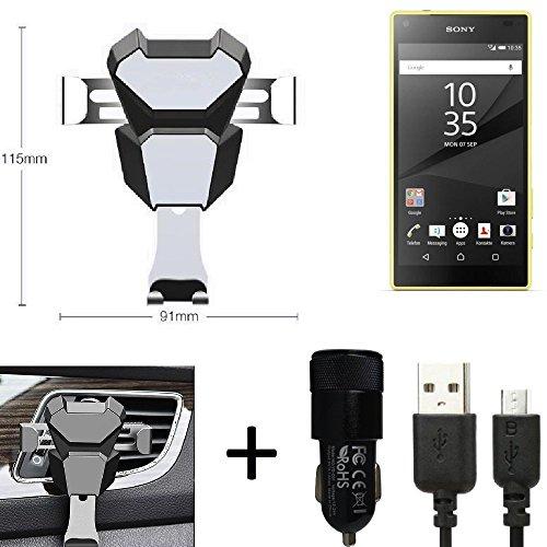 K-S-Trade® Top Set para Sony Xperia Z5 Compact Soporte Compacto Montaje de ventilación Ranura de la Rejilla + Cargador ventilación Coche Negro-Plateado vehículo de Motor Teléfono Inteligente