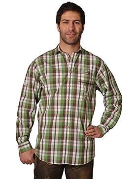 Trachtenhemd Levin grün Karo Langarm OS Trachten