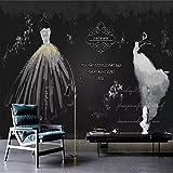Zxdcd Benutzerdefinierte 3D Fototapete Retro Weiß Hochzeitskleid Vlies Wandbild Wohnzimmer Tv Hintergrund Wandaufkleber Wand-Dekoration-350X250 Cm