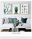 AKLIGSD Impression sur Toile Peinture sur Toile Art Oil Oil Ananas Cactus pour Salon Cuisine Cuisine, 50 X 70cm X 3pcs (No Frame)
