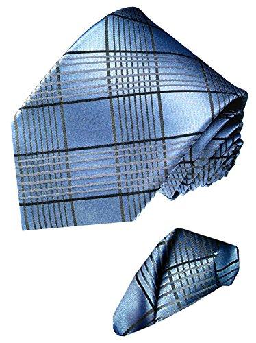 LORENZO CANA - Marken Set aus 100% Seide - Blau Silbergraue Krawatte im Karodesign mit Einstecktuch - 8447101