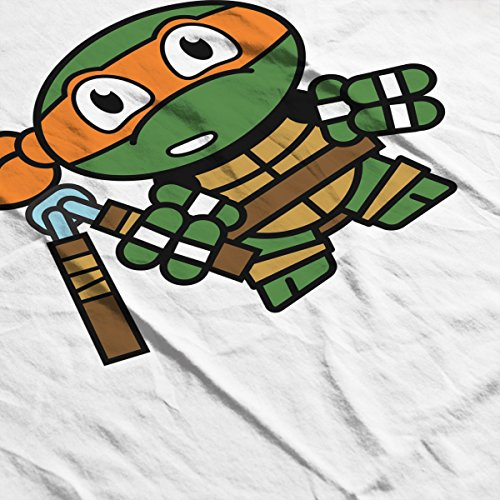 Mitesized Michelangelo Teenage Mutant Ninja Turtles Men's Baseball Long Sleeved T-Shirt White/Black