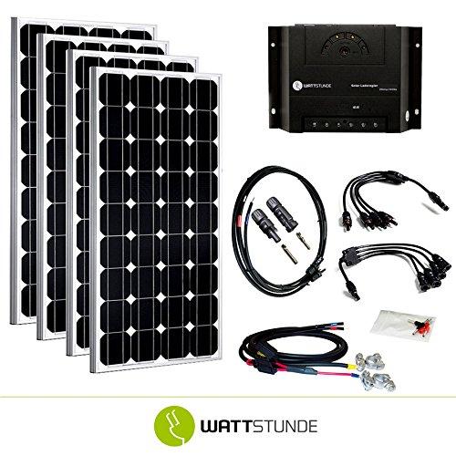 WATTSTUNDE® 600W Solaranlage 12V Solar Bausatz, Solarmodul Laderegler - Inselanlage Set