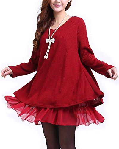 Minetom Damen Strickkleid Langarm Sweatshirt Strickpullover Kleider Pullover Chiffon (Rot EU 34-36 (Tag L))